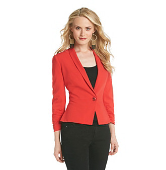DKNY JEANS Shawl Collar Blazer with Ruched Sleeves