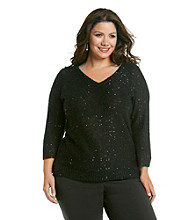 Anne Klein® Plus Size Sequined V-Neck Sweater