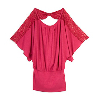 A. Byer Juniors' Lace Shoulder Dolman