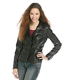 Jou Jou Juniors' Faux Leather Two Button Blazer