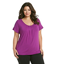 Relativity® Career Plus Size Pleated Scoopneck Top