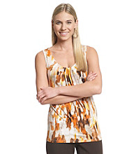 Relativity® Career Printed Pleatneck Tank Top