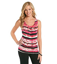 Relativity®Career Petites' Printed Pleatneck Tank Top