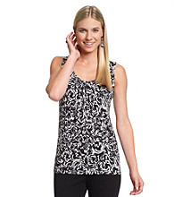 Relativity® Career Petites' Printed Pleatneck Tank Top