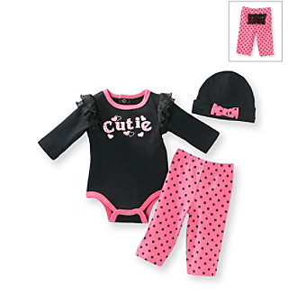 "Baby Essentials® Baby Girls' Black 3-pc. ""Cutie"" Pants Set"