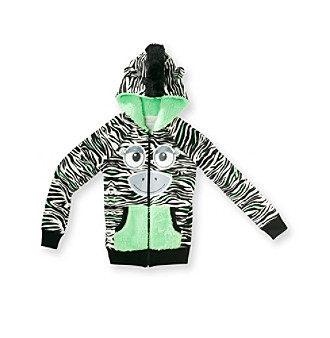 Belle du Jour Girls' 7-16 Neon Zebra Critter Fleece Hoodie