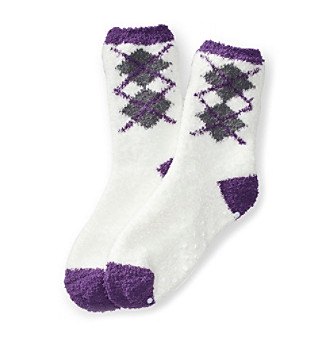 KN Karen Neuburger Argyle Dot Gripper Lounge Socks
