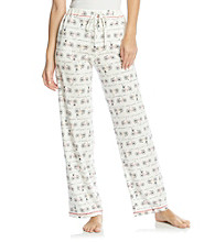 Cuddl Duds® Sleep Purrfect Day Knit Pants - Ivory Bikes