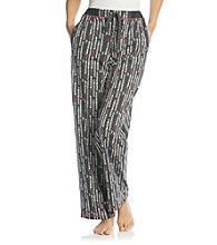Cuddl Duds® Sleep Purrfect Day Knit Pants - Black Heart Grid