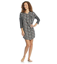 Cuddl Duds® Purrfect Day Knit Sleepshirt - Black Heart Grid