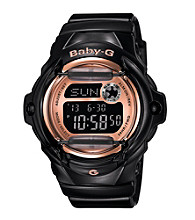 Baby-G Pink Champagne Series Black Gloss Digital Watch with Pink Mirror Dial