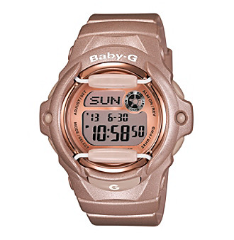 Baby-G Women's 46mm Pink Champagne Digital Watch With Translucent Resin Band