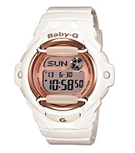 Baby-G Pink Champagne Series White Gloss Digital Watch with Pink Mirror Dial