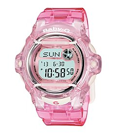 Baby-G Jelly Pink Resin Digital Watch with Translucent Pink Band