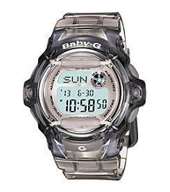 Baby-G Women's Jelly Gray Digital Watch with Translucent Resin Band