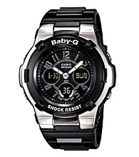 Baby-G Ana-Digi, Black Resin with Stainless Steel Bezel - Molded Resin Band