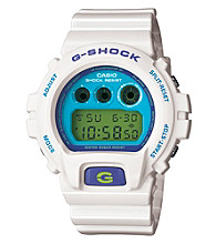 G-Shock Classic Digital with White Gloss Resin Band and Blue and Green Dial