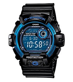 G-Shock Large Case Digital with Black Gloss Resin Band with Blue Bezel and Blue Dial Accents