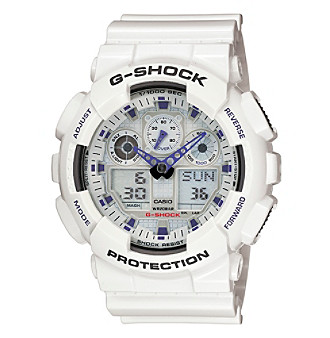 G-Shock Extra Large Ana-Digi with Gloss White Resin Band and White Dial with Purple Accents