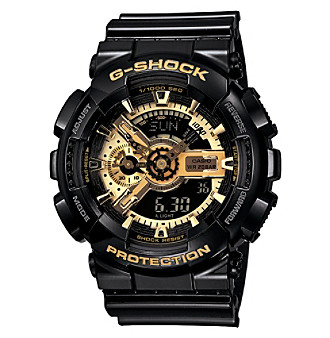 G-Shock Extra Large Ana-Digi with Gloss Black Resin Band and Black and Gold Dial Men's