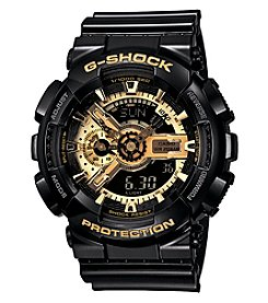 G-Shock Extra Large Ana-Digi with Gloss Black Resin Band and Black and Gold Dial