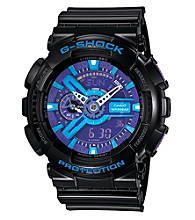 G-Shock Extra Large Ana-Digi with Gloss Black Resin Band and Blue and Purple Dial