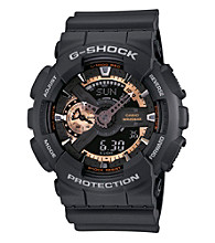 G-Shock Extra Large Ana-Digi with Matte Black Resin Band and Black and Rose Gold Dial