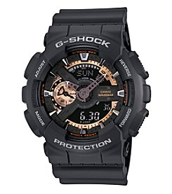G-Shock Men's XL Analog-Digital with Matte Black Resin Band and Black and Rose Goldtone Dial