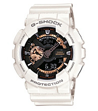G-Shock Extra Large Ana-Digi with Matte White Resin Band and Black and Rose Gold Dial