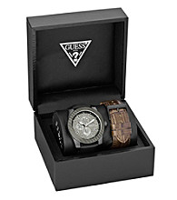 Guess Black Ion-Plated Masculine Dress Sport Set - One of Each, Interchangeable Bracelet and Strap