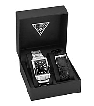 Guess Silver Clean Masculine Dress Sport Set - One of Each, Interchangeable Bracelet and Strap