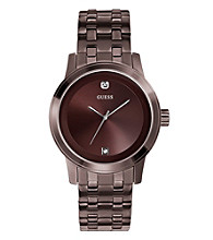 Guess Brown Ion-Plated Steel Case Round Diamond Dress Watch