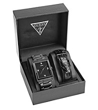Guess Black Ion-Plated Clean Masculine Dress Diamond Sport Set - One of Each, Interchangeable Bracelet and Strap