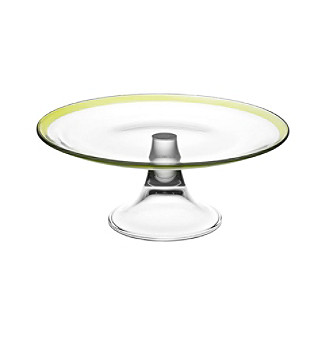 """Ego Antibes 11"""" Footed Cake Plate with Green Rim"""