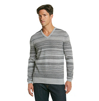 Calvin Klein Men's Merino Striped V-Neck Sweater