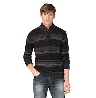 Calvin Klein Jeans® Men's Charcoal Reverse Jersey Button Placket Sweater