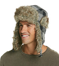Ruff Hewn Men's Grey Checkered Faux Fur Trapper Hat