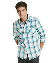 Mambo® Men's White & Peacock Blue Long Sleeve Plaid Shirt