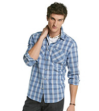 Mambo® Men's Blue Chambray Plaid Long Sleeve Button Down Shirt