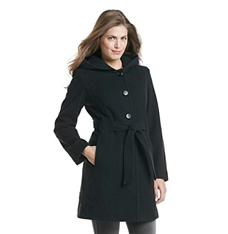 Anne Klein® Petites' Single-Breasted Belted Walker With Hood