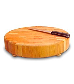 Catskill Craftsmen Round Slab End Grain Chopping Block with Feet