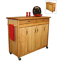 Catskill Craftsmen Butcher Block Island with Flat Doors