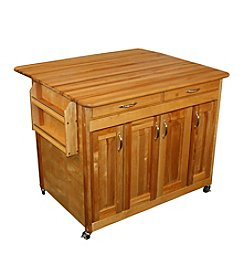 Catskill Craftsmen Butcher Block WorkCenter PLUS with Drop Leaf