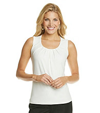 Evan-Picone® Solid Pleatneck Tank