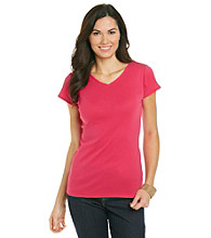 Relativity® Petites' Solid V-Neck Tee