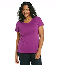 Relativity® Plus Size Solid V-Neck