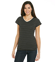 Relativity® Petites' Striped Crewneck Tee
