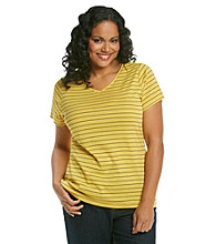 Relativity® Plus Size Stripe V-Neck Tee
