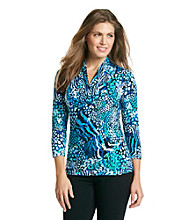 Relativity® Career Petites' Shawl Collar Top