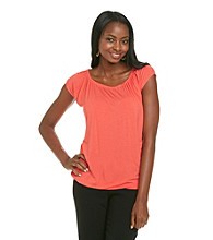 Relativity® Career Ruched Scoopneck Top